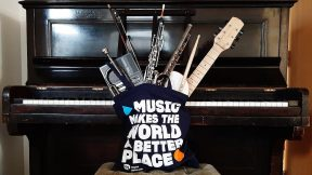 Tote bag with a selection of instruments from home, by Dougal Perman